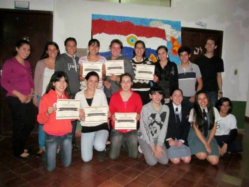 English students and their certificates.