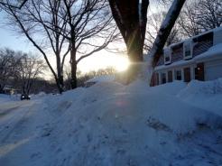 Sunshine on the snow hills.